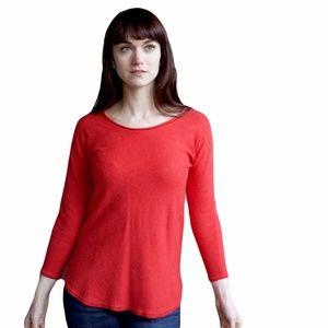 Max Studio Red Merino Wool Tunic 3/4 Slv Sweater
